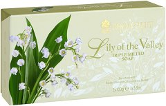 "Bronnley Lily of the Valley Triple Milled Soap - Комплект от 3 броя луксозни сапуни от серията ""Lily of the Valley"" - душ гел"