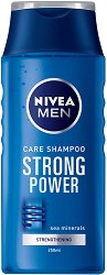 Nivea Men Care Shampoo Strong Power - Шампоан за мъже с морски минерали за ежедневна употреба - лосион