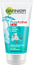 Garnier Pure Active 3 in 1 - Измиващ гел, ексфолиант и маска за лице -