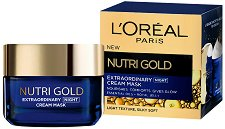 L'Oreal Nutri-Gold Extraordinary Cream Mask - Нощна крем-маска за лице с етерични масла и пчелно млечице -
