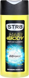 STR8 Body Hair+Body 6G Force Recharging Shower Gel - Душ гел за мъже за коса и тяло -