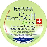 "Eveline Extra Soft Bio Olive Luxurious Regenerating Cream - Интензивно-регенериращ крем с био маслина, D-пантенол и алантоин от серията ""Extra Soft"" - маска"