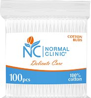Normal Clinic Delicate Care Cotton Buds - Клечки за уши в плик с цип от 100 ÷ 300 броя - ластик