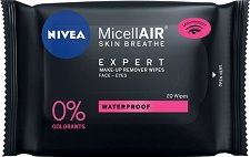 "Nivea MicellAIR Expert Waterproof Make-up Remover Wipes - Почистващи кърпички от серията ""MicellAIR Expert"" -"