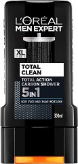 "L'Oreal Men Expert Total Clean 5 in 1 Carbon Shower - Душ гел за мъже 5 в 1 от серията ""Men Expert"" -"