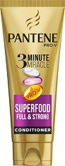 Pantene 3 Minute Miracle Superfood Full & Strong Conditioner - Балсам за обем за слаба и тънка коса -