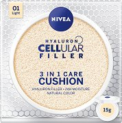 Nivea Hyaluron Cellular Filler 3 in 1 Care Cushion - SPF 15 - Грижовен фон дьо тен за лице с естествено покритие -